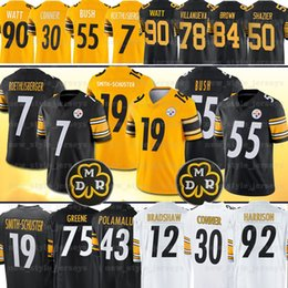 Watt shorts on-line-7 Ben Roethlisberger Steelers Jerseys 90 T.J. Watt 55 Devin Bush 19 JuJu Smith-Schuster 30 James Conner Pittsburgh Jerome Bettis Polamalu
