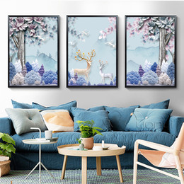 2019 incorniciato cervo pittura Forest Canvas Painting Deer Animals Nordic Poster Wall Pictures For Living Room Poster And Prints Decorazione da parete Senza cornice sconti incorniciato cervo pittura