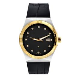Argentina Los mejores hombres de la marca Relojes Cuero mujer oro Dial Cerámica de imitación Bisel Acero Oro Reloj mujer Buceo Cuarzo relojes Relojes usa Reloj deportivo Suministro