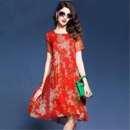 blaues seidenknie-hochkleid Rabatt 2019 neue elegante blumendruck sommer knielangen kleider hohe qualität seidenkleid frauen plissiert rot blau vestidos mujer plus größe