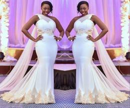 robe de mariée taille plus Promotion Robes de mariée sirène sud-africaine, Plus la taille Une Épaule Robes De Mariée Champagne Dentelle Appliques Dubaï Arabe Robe De Mariage Robe Robes