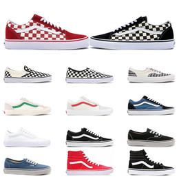 Calçado casual lona plana on-line-Vans old skool  mens tênis de lona das mulheres preto branco vermelho YACHT CLUB Morango moda skate sapatos casuais tamanho 36-44