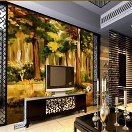 живопись речного животного Скидка Нестандартный размер 3d фото обои гостиной росписи лес река животное пейзаж картина маслом диван тв фоне обои нетканый стикер