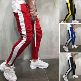 hommes coréens pantalons blancs Promotion Dropshipping Hommes Pantalons de survêtement 2019 Hip Hop Streetwear Pantalon de sport décontracté Noir Blanc Pantalon de survêtement pour homme coréen