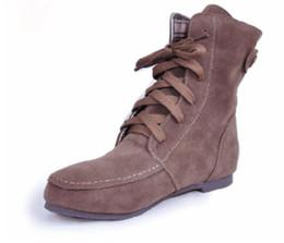 bbbf92e2e Glglgege Invierno Tobillo Corto Mujer Botas Talón plano con cordones Único  Martin Botas Zapatos verdes Felpa Zapatos planos cálidos Damas de gran  tamaño