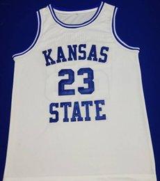 Брошь трикотажные изделия 4xl онлайн-высокое качество # 23 Митч Ричмонд штата Канзас белый пережитка мужской баскетбол Джерси вышивки прошитой любой номер и имя