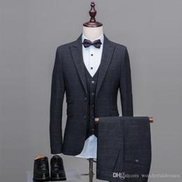 blaue silberne gestreifte krawatte Rabatt Anzüge Für Männer Glen Plaid Smoking Groomsmen Zweireihige Anzüge Mens Morgen Hochzeit Anzüge Formale