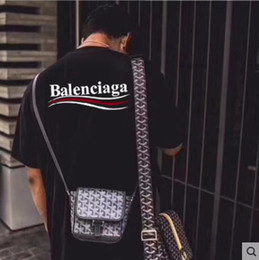 Impresión de doble cara ropa online-Nuevo estilo B de moda Impresión a doble cara de impresión Cuello redondo Camiseta de manga corta Camisetas Para hombre Tops camisa de hombre de algodón puro ropa