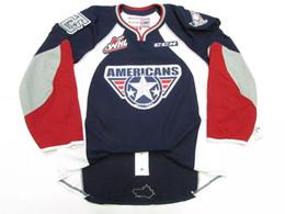 Дешевые американские хоккейные трикотажные изделия онлайн-Дешевые на заказ TRI-CITY AMERICANS WHL AUTHENTIC CCM PRO EDGE 2.0 7287 ХОККЕЙНАЯ ДЖЕРСИ Blue Vintage трикотажные изделия