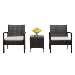 Juego de muebles de mimbre de ratán 3PC acolchado al aire libre asiento de jardín sofá silla desde fabricantes