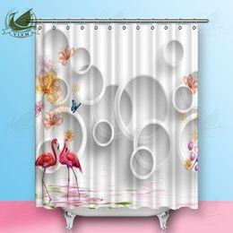 Cortinas blancas flores rosas online-Vixm 3D Círculo Blanco Flor de la Planta de Dibujos Animados Rosa Flamingo Cortinas de Ducha Tela de Poliéster Cortinas Para La Decoración Casera