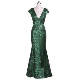 2019 новинка изумрудно-зеленый с короткими рукавами и V-образным вырезом блесток на заказ плюс размер длинное вечернее платье выпускного вечера от