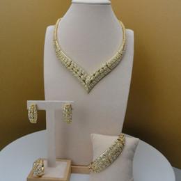 Yuminglai vente chaude femmes africaines Dubai mode élégante fine cristal supérieure 24K plaqué or ensembles de bijoux en alliage ? partir de fabricateur