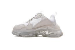zapatos de suela gruesa de invierno Rebajas 100% CALIDAD SUPERIOR Otoño Invierno Zapatillas para correr 17FW Triple-S Cuero y malla Suela gruesa triple S 2.0 Absorción Zapatillas deportivas gratis
