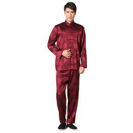 Tuta da uomo di alta qualità cinese Kung Fu seta raso Tai Chi Wu Shu imposta vintage drago Wu Shu abbigliamento S M L XL XXL XXXL011314 supplier men s satin suits da vestiti di raso degli uomini fornitori