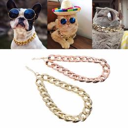 Толстые ошейники для собак онлайн-5 шт. / лот Pet собака ожерелье ошейники толстые золотые цепи покрытием пластиковые идентифицированы безопасности воротник щенок собаки поставки 45 см