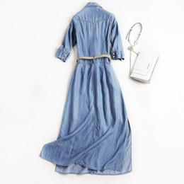 Denim-taschenkleid online-Frauen-Sommer-lange Denim-Kleid Preppy beiläufige Einreiher Midi-Kleid mit hohen Taille Taschen Reverskragen Schärpen Slim Fit Kleider