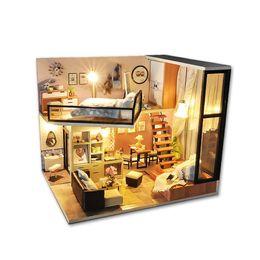 2019 casa de muñecas de luz led bricolaje Ensamble casa de madera DIY Juguete de madera Miniatura Casas de muñecas Juguetes de casa de muñecas en miniatura con muebles LED Luces Regalo de cumpleaños rebajas casa de muñecas de luz led bricolaje