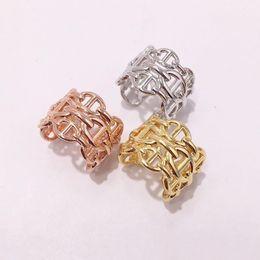 2019 conjuntos de anillo de diamante nscd Moda Titanio acero Marca oro rosa plata abierto H anillos para mujeres hombres amor anillo Fiesta Boda San Valentín regalo joyería al por mayor