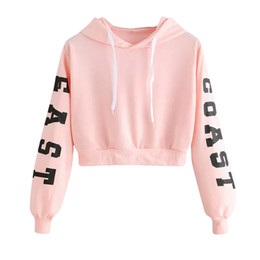 fashion womens sweatshirt wholesale Promo Codes - Womens Letters Long Sleeve Hoodie Sweatshirt Pullover Tops Blouse Harajuku Hoodies Cropped Fashion XS-XL Womens Hoodie