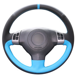 2019 velhas rodas de direção do carro Mão DIY costura Preto Azul Couro Genuíno Preto Suede Car Cobertura de Volante para Suzuki SX4 Alto Velho Swift desconto velhas rodas de direção do carro