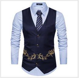 chaleco con cuello en v para hombre Rebajas Moda sin mangas con cuello en V nuevo diseño bordado traje chalecos boda de alta calidad del novio chalecos hombres de negocios trajes chalecos