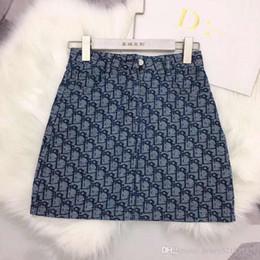 saias de denim para mulheres Desconto 2019 novas mulheres carta logo jacquard denim jeans a-line bodycon sexy saia curta moda plus size saia