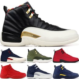 jeux de balle rouge Promotion 2020 CNY 12S Black Winter Gym Red Michigan Mens Basketball Chaussures Le Taxi Flu Game Master 12 Hommes Sport Designer Chaussures 7-13