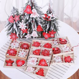 christmas tree snows Promo Codes - Environment Christmas tree ornament white red wooden hanging pendants wood chip snowman deer star snow Christmas decorations 12pcs lot