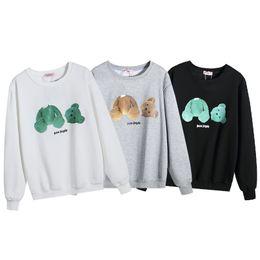 Белый пуловеры для женщин онлайн-19fw Palm Angels мужские дизайнерские толстовки Мужчины Женщины сломанный медведь печати шею толстовка мужская дизайнер пуловер черный серый белый
