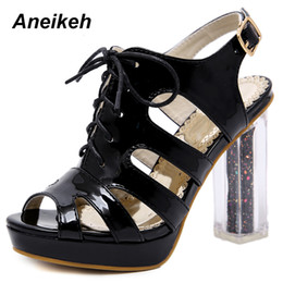a19e6f5fed38 Aneikeh 2019 Sexy Sandals Ankle Boots Woman Shoes Clear High Heels Peep Toe  Pumps Chunky Heel Ladies Bottes Femme Black Apricot