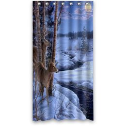 2019 disegni su misura Custom It inverno neve animali cervi luna flusso tenda falò Design stallo muffa resistente impermeabile Bagno F Tenda da doccia, sconti disegni su misura