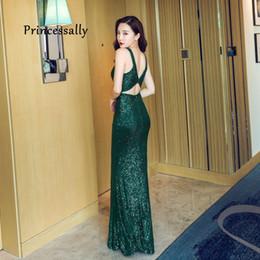 Rebordear vestido de fiesta verde esmeralda online-Vestidos de noche de la sirena esmeralda Party Prom nuevo atractivo sin mangas verde de las lentejuelas rebordear boda vestidos de noche bata longue