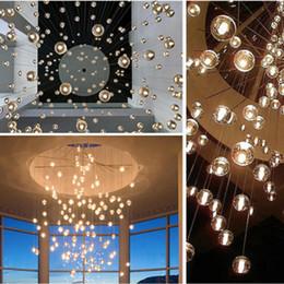 lampara moderna tom dixon Rebajas LED de cristal Bola de cristal de la lámpara pendiente Lluvia de meteoros de techo meteórica El Cielo Escalera Bar Droplight iluminación de la lámpara de AC110V-240V