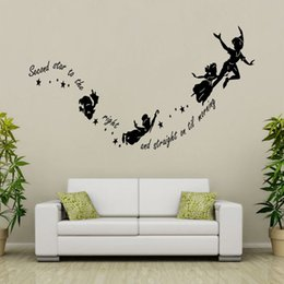 stick peel wall Coupons - second star to the right Peter pan Wall Stciker Mural Art Decal