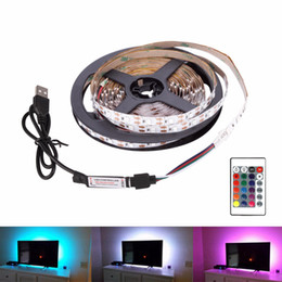 mini usb dc Sconti USB LED Strip DC 5V Flexible Light Lamp 60LEDs SMD2835 1M 2M 3M 4M 5M Mini 3Key Desktop Decor Tape TV Background Lighting