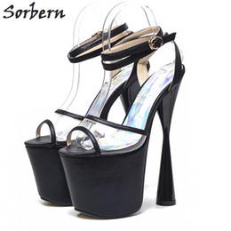 19cm scarpe online-vendita all'ingrosso donne stile strano sandali cinturino alla caviglia con cinturino alla caviglia scarpe sandali donna open toe sandalias estate 19 cm tacchi