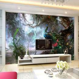 Decoración de pavo real para sala de estar online-3D Nature Wallpaper Beautiful Peacock Forest 3D Stereo Oil Painting Mural Living Room Setting Wall Landscape Decor Panel Wall