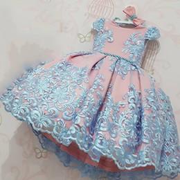 2019 menina vestidos de impressão floral Baby Girl Vestidos Lace Bordados Vestido de Natal Vestido de casamento Crianças Roupas Crianças Vestidos Para Crianças Cerimônia Partido Meninas