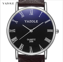 Relogios numéricos romanos on-line-YAZOLE 268 New Brown Men Watch Moda Faux Leather Mens numerais romanos Quartz Analog Watch Casual Masculino Negócios Relógios