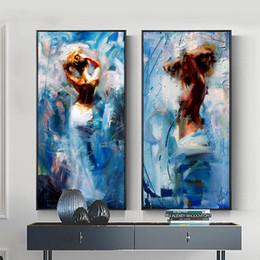 Pintura a óleo menina dançando on-line-Modern Abstract Dancing Girl Retrato Pintura A Óleo sobre Tela 2 pçs / set Grande Pintura Da Lona Decoração Da Parede para Sala de estar Quarto