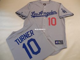 e64e191af Cheap custom Majestic Mens Los Angeles  10 JUSTIN TURNER Baseball JERSEY  New GRAY Mens stitched jerseys Big And Tall SIZE XS-6XL For sale