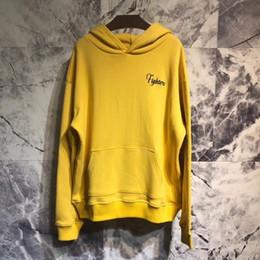 Hoodie con cappuccio giallo online-18FW AM1R1 Autunno Inverno Giallo Felpa con cappuccio Tigre Ricamo Felpe Moda Uomo Donna Via Casual Pullover Maglione HFYMWY208