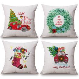 Divano di calze online-Fodere per cuscini per albero di Natale allegro Calze natalizie Fodera per cuscino per berretto da baseball Fodera per cuscino in cotone e lino 45X45cm Decorazione divano