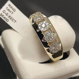 Bagues fantaisie en or et diamants en Ligne-Vente chaude imitation plaqué or 5 gros diamants bagues de fiançailles européenne et américaine de la mode micro set hommes et femmes