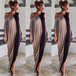 Art- und Weisesommerfrauen beiläufiges eine Schulter drapiertes halbes Hülsen-Patchwork-Schrägstrich-Ansatz-Verband-bodycon Partei-Cocktail-Knöchel-Kleid von Fabrikanten