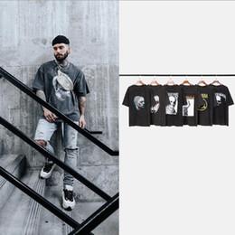 impressão de camisetas para bandas Desconto Mens Verão Tshirt High Street Preto Escuro Vintaged Wash Banda de Rock Solto Imprimir T-shirt de Verão de Manga Curta para o Sexo Masculino