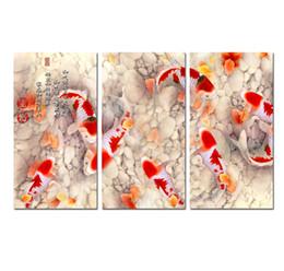 2019 dipinti astratti bianchi neri rossi Arte della parete Home Decor Cina vento Feng Shui Pesce Koi pittura animale Stampato su tela per decorazioni per ufficio Soggiorno foto Decor HYA01