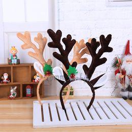 diadema de cuernos de reno Rebajas Navidad suministra Inicio Artículos de decoración con banda de sombrero de fantasía Sombrero elegante las astas del reno de Santa de Navidad Niños Adultos