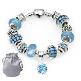 872f330a1632 2019 colgante de corazón de esmalte azul Las mejores pulseras de plata Fit  Pandora mujeres azul